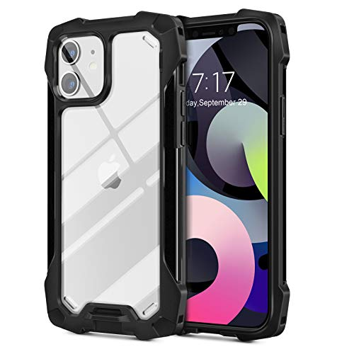 YOOMAS iPhone 12 Case Clear, [10FT Military Grade Drop Tested] Protective Apple iPhone 12 Pro Cases with Aluminum Bumpers, Shockproof Cell Phone Case Cover for iPhone 12/12 Pro 6.1 inch, Black