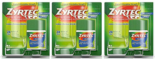 Zyrtec Prescription-Strength Allergy Medicine Tablets With Cetirizine, 70 Count, 10 mg - Pack of 3