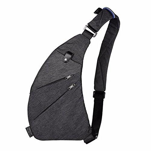 DAFROH Unisex Brusttaschen Halbmond wasserdichte Oxford Multi-Pocket Messenger Taschen Kleine Leinwand Chest Pack für Reisen Wandern Outdoor Sportarten (Grau)