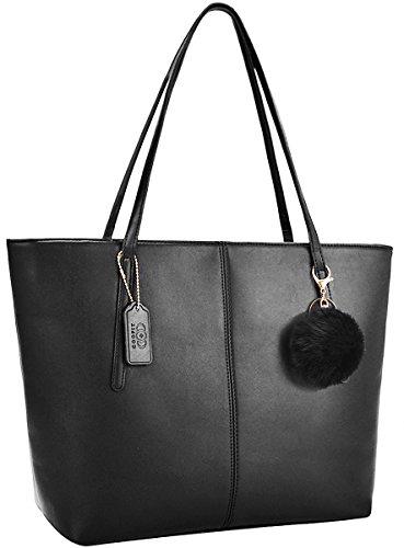 Damen Handtasche,COOFIT Damentasche Schwarz Shopper Handtasche Schwarz Schultertasche Elegant Schwarze Tasche Damen Groß Schule Handtasche mit Pelz Kugel Plüsch Schlüsselring