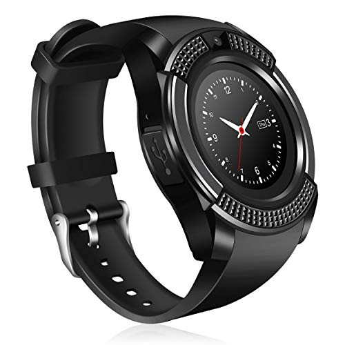 Welrock V8 Bluetooth Smartwatch Compatible with All Android Devices with Camera SIM Card Slot & Pedometer Display Touch Screen Microphone Touch Screen Watch for Android & iOS Devices (Black)