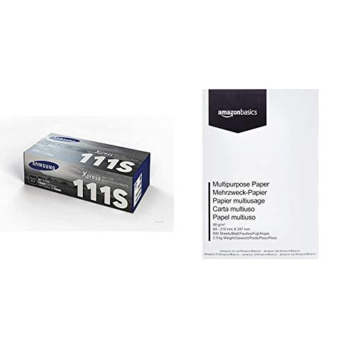 Samsung MLT-D111S SU810A Cartuccia Toner Originale Standard, 1000 Pagine, Nero & Amazon Basics Carta da stampa multiuso A4 80gsm, 1 risma, 500 fogli, bianco