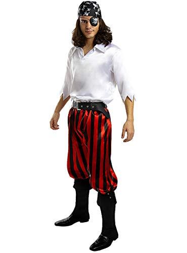 Funidelia   Disfraz de Pirata - Coleccin bucanero para Hombre Talla L Corsario, Bucanero - Color: Blanco - Divertidos Disfraces y complementos para Carnaval y Halloween