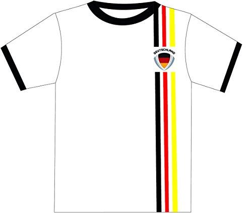 T-Shirt Allemagne, BRD Blanc avec bandes, noir, or rouge, 140