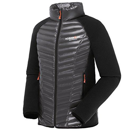 emansmoer Homme Puffer Packable Ultra léger Doudoune Veste vers Le Bas Coupe-Vent Outdoor Veste de Randonnée Escalade (Large, Noir)