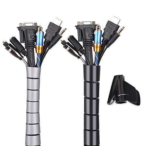 MOSOTECH Organizador Cables, Cubre Cables de 2 x 1.5m, Flexible Funda Organizador Cables, Organizador de Cables Mesa, Recoge Cables para Office y PC Escritorio-Negro y Gris (Ø2.6cm y Ø2.2cm)