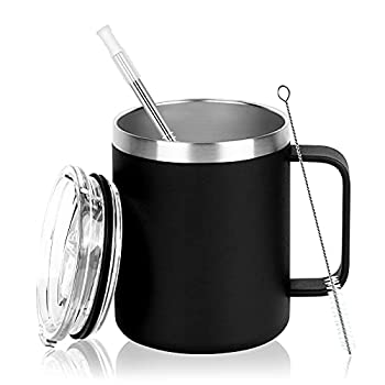 Stainless Steel Coffee Mug 12Oz Insulated Coffee Mug Cup with Handle Double Wall Vacuum Coffee Cup with Lid Stainless Steel Coffee Travel Mug Thermal Coffee Mug for Hot and Cold Drinks  Black