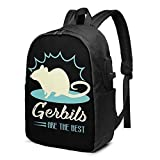 Hdadwy Les gerbilles sont Le Meilleur Sac à Dos 17 Pouces Unisexe Business Travel School Backpack avec Port de Chargement USB