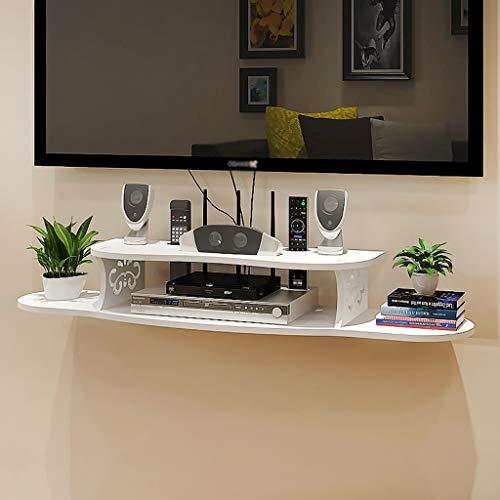 TLMYDD Mueble de TV de Pared Estante Unidad de Almacenamiento Estante Reproductor de DVD/BLU-Ray Caja de TV satelital Caja de Cable Marco Flotante Blanco Estante