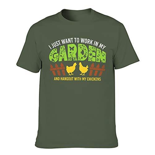 Camiseta para hombre con texto en alemán 'Arbeit in Mein Garten Hang Out con gallinas' verde militar XL