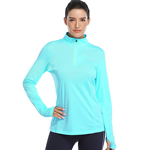 HISKYWIN Womens UPF 50+ Sun Protection Tops Long Sleeve Half-Zip Thumb Hole Outdoor Performance Workout Shirt HF806 Light Green L