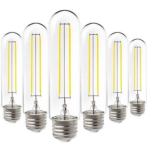 Sunco Lighting 6 Pack T10 LED Bulb, Dusk-to-Dawn, 5W=40W, 3000K Warm White, Vintage Filament Bulb, 450 LM, E26 Base, Outdoor Decorative String Light - UL