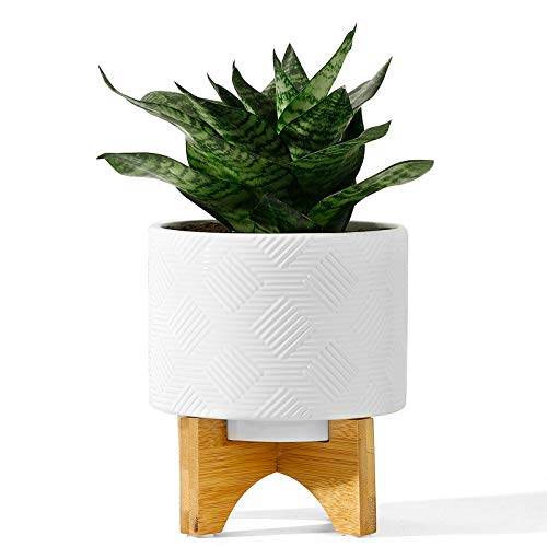 POTEY 029411 Mid Century Ceramic Planter Indoor - 5.2 Inch Medium Flower Plant Pots with Wood Stand and Drainage Hole