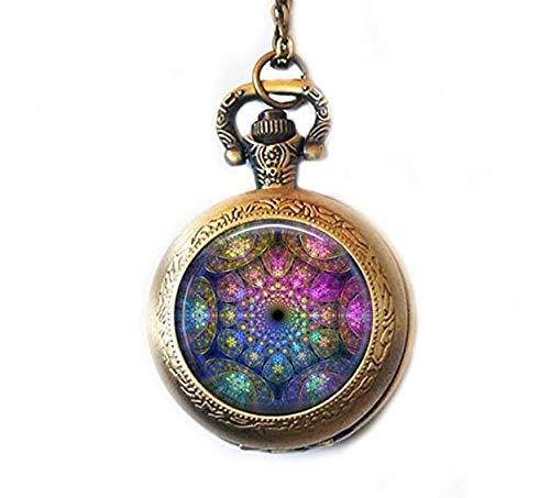 Fractal - Reloj de bolsillo con diseño de mandala abstracto bañado e