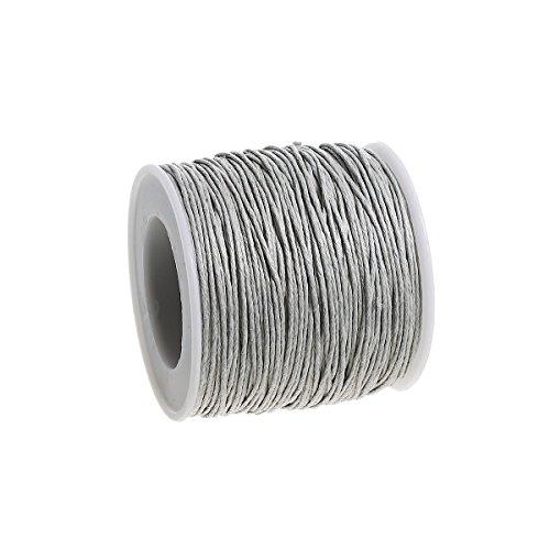 Sadingo Paketschnur Grau, Makramee DIY, Schnur zum basteln, Rosenkranz selber Machen, Armband, 90 Meter - 1mm Stärke