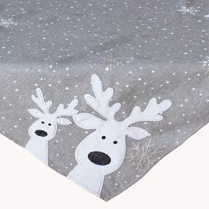 Kamaca Serie LUSTIGE Elche mit neugierigen Elchen und Schneeflocken Filigrane Stickerei Eyecatcher Winter Weihnachten (hellgrau, Mitteldecke 85x85 cm)