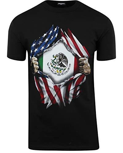 ShirtBANC Mexican USA Flag Mens Shirts Mexican American Culture USA Love (Black, L)