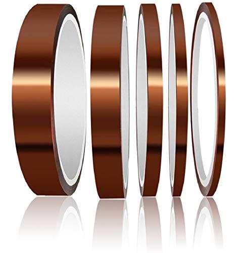 beihuazi® 5x Kapton Tape Hitzebeständiges Klebeband Polyimid Film Klebeband Bis 300°C Wärmeklasse 33 M (3mm, 5mm, 8mm, 12mm, 15mm)