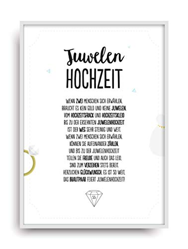 Hochzeit Karte JUWELENHOCHZEIT Kunstdruck 55. Hochzeitstag Juwelen Brautpaar Bild ohne Rahmen DIN A4
