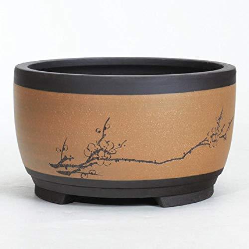 Plant pots planters CDFZS Bonsai Flowerpot Ceramic Round Large Medium and Small Bonsai Pot Green Plant Pot Drum-Shaped Chinese Style Medium 04style
