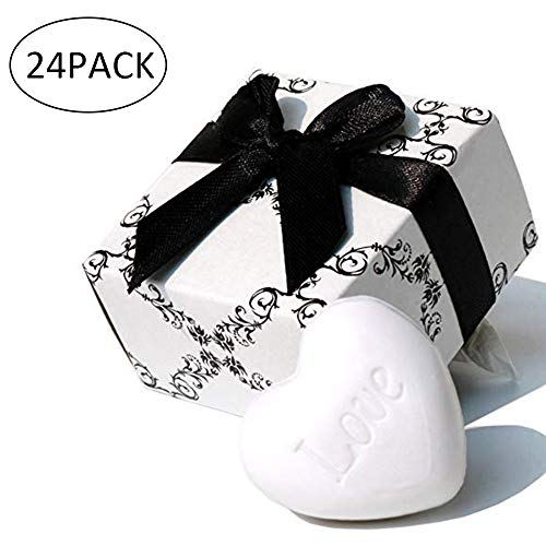 AiXiAng Cute Mini 24 Pieces Heart Soap for Wedding Soap Favors and Gifts or Baby Shower Soap Favors