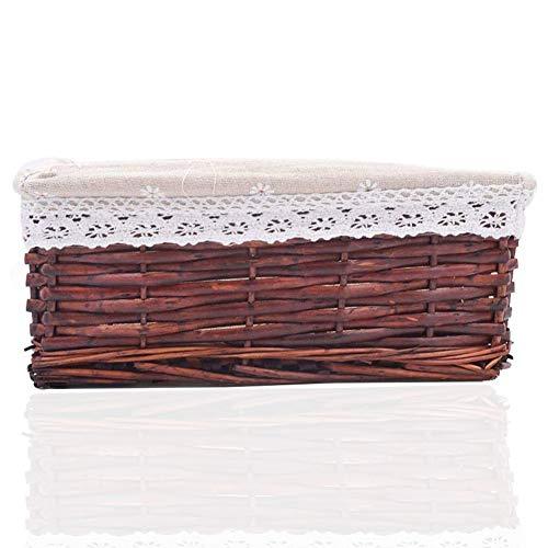Cestino in Vimini Cesto Contenitore Organizer Tessuto Corda di Cotone Rettangolari Perfetti per riporre Oggetti di Piccole Dimensioni Con fodera bianca rimovibile e lavabile Bianco Marrone Scuro