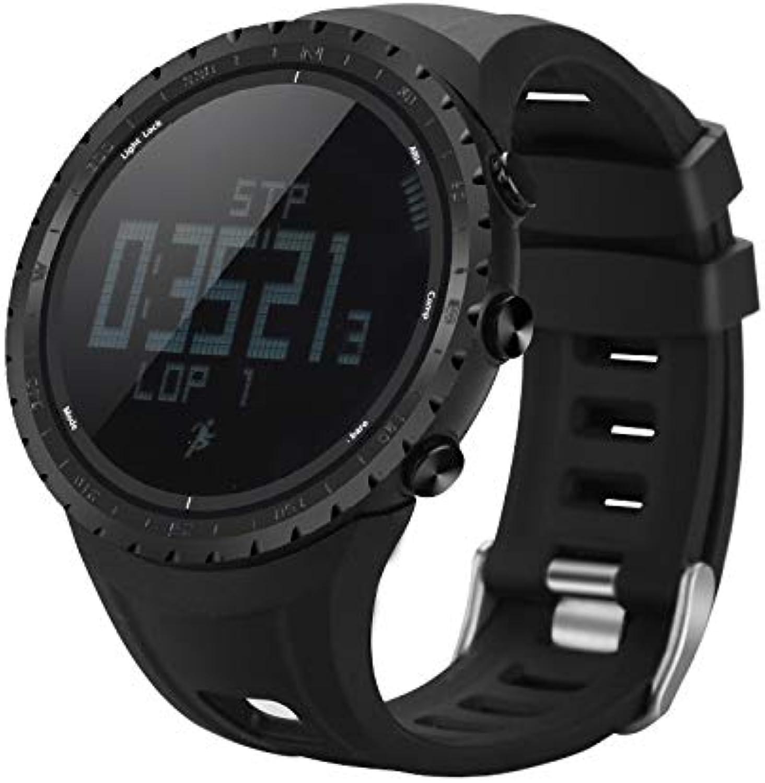 XuBa Sports Watch  Waterproof Pedometer Calorie Counter, Thermometer Barometer Altimeter Digital Compass (Black)
