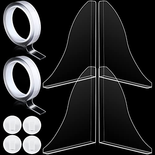 Jetec 10 Pieces Splash Guard Acrylic Shower Splash Guard, Bathroom Bath Tub Splash Guard Bathroom Shower Bathtub Guard with Self Adhesive Shower Curtain Clips and Transparent Acrylic Adhesive Tapes