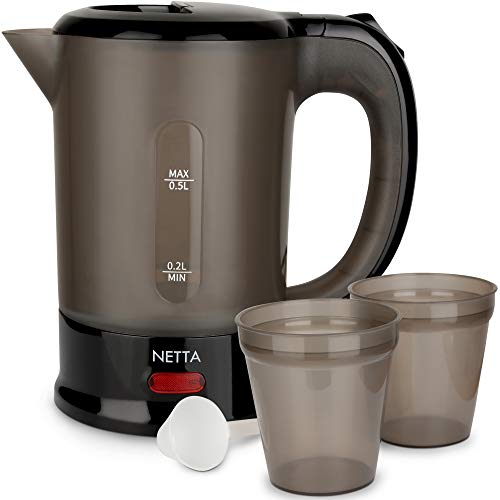 NETTA Travel Kettle 0.5L with 2 Cups - 1100W Electric Portable - Black - Spoon Included