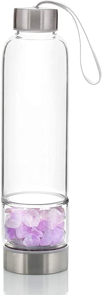 Tacohan Botella de Agua de Gema de Amatista Natural, Muy Adecuada Como Botella de Agua Deportiva, Botella de Agua de Vidrio de Fruta, Botella de Bebida, Botella de Agua Decorativa