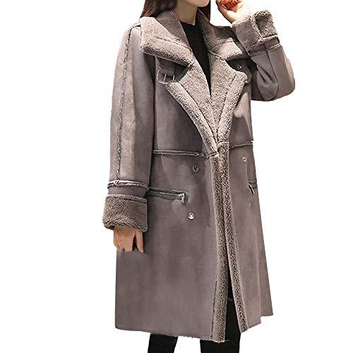 HaiDean Womens Lapel Faux Fleece Jas gevoerde Leer Vrouwen Moderne Casual Warm Winter Shearling Jas Urz Boucle Wol Trench Jas Hooded Zachte Duffle Jas Warm Comfortabele Kleding Jas Bovenkleding