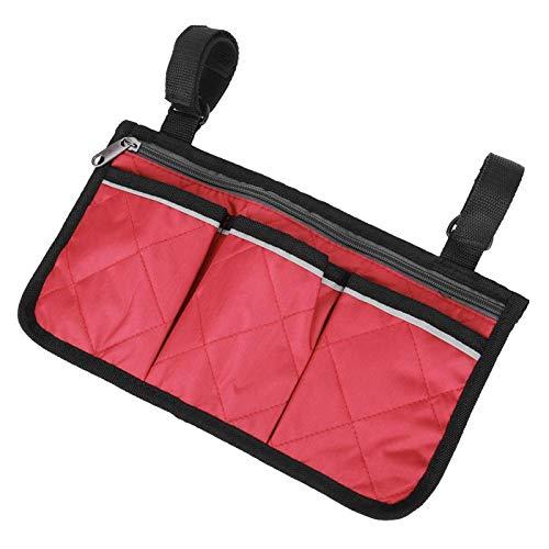 DAUERHAFT Bolsa Lateral para Scooter Multifuncional Multibolsillos, Scooters, para la mayoría de Andadores(Red Wine)