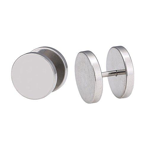 Chic-Net Piercing falso de acero inoxidable, tapón de rosca, dilatador, color plateado, placas redondas, 14 mm