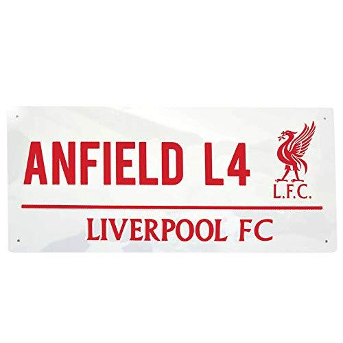 Offizielles Liverpool FC Anfield Road & Football Wappen Metall Straßenschild (40 cm x 18 cm)