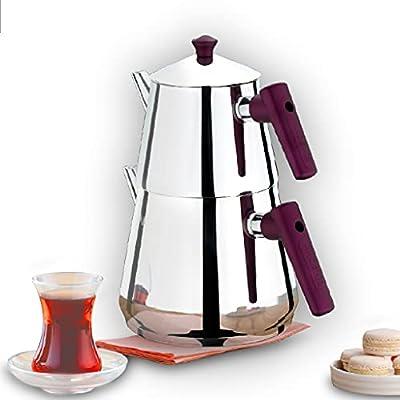 Turkish Tea Pots for Stove Top, Stainless Steel Turkish Teapot Set, Samovar Style Self-Strained Tea Kettle Pot (MINI)