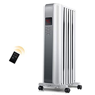 Space Heater, 1500W Oil Filled Radiator Heaters Indoor Portable Electric with Remote, Built-in 24-Hrs Auto On/Off Timer, Digital Thermostat, ECO Mode, Safe and Quiet Heater for Home Office Use, White