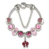 NOBRAND Vintage Christmas Silver Crystal Charmbracelets & Bangles para Mujeres DIY Jewelry 21Cm