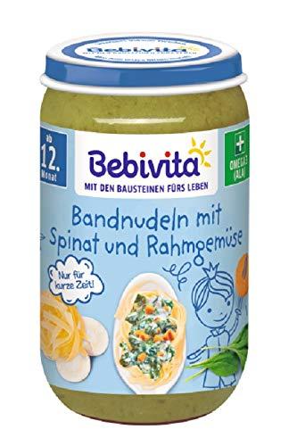 Bebivita Menüs ab 12. Monat, Limitiert Prinz - Bandnudeln mit Spinat und Rahmgemüse, 6er Pack (6 x 250 g)