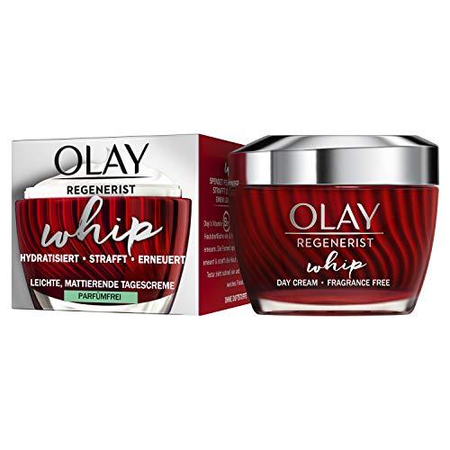 OLAY Regenerist Whip - Crema de día sin perfume, 50 ml, ligera crema hidratante para piel más firme, cuidado facial con aminopéptidos y vitamina B3, crema para mujer con textura única