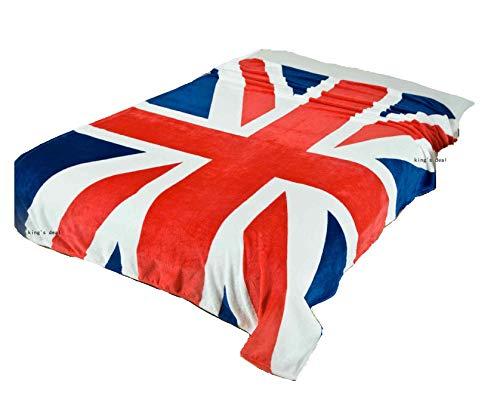 """King's deal- Tm Bed Blanket:79"""" x 59 """" Super Soft Warm Air Conditioning Throw Blanket for Bedroom Living Rooms Sofa,Oversized Travel Throw Cover (UK Flag1)"""