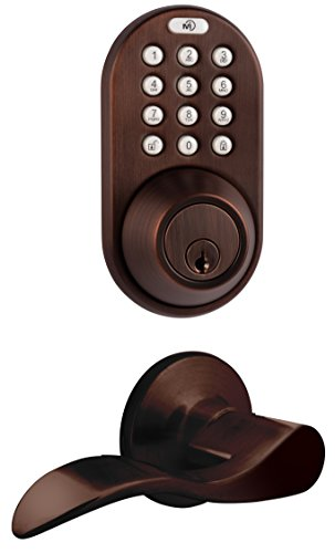 MiLocks DFL-02OB Electronic Touchpad Entry Keyless Deadbolt and Passage Lever Combo, Oil Rubbed Bronze