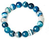 Schnur Armbänder,Reichtum Armband Dzi Perle Natürliche Spitze Achat Aqua Blau Feng Shui Ornament Talisman Chakra Edelstein für Frauen Stretch Armband,12Mm (Größe: 12Mm)