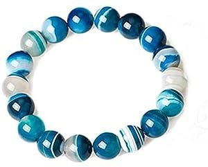 Schnur Armbänder,Reichtum Armband Dzi Perle Natürliche Spitze Achat Aqua Blau Feng Shui Ornament Talisman Chakra Edelstein für Frauen Stretch Armband,12Mm (Größe: 8Mm)