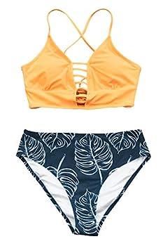CUPSHE Women s Bikini Swimsuit Leaf Print Lace Up Two Piece Swimsuits XXL