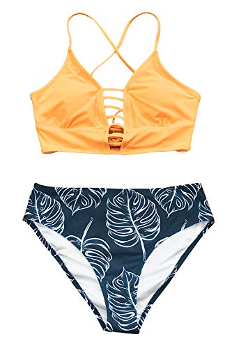 CUPSHE Women's Bikini Swimsuit Leaf Print Lace Up Two Piece Swimsuits, XL