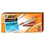 BIC Round Stic Grip Xtra Comfort Ballpoint Pen, Medium Point (1.2mm), Red, 12-Count