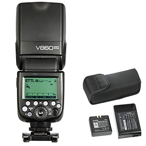 Godox V860II-C Flash de cámara pionero Speedlite, 2.4G X Wireless HSS GN60 Speedlight Flash para 6D 7D 50D 60D 500D 550D 600D 650D 1000D 1100D 1DX 580EX II 5D Mark II III