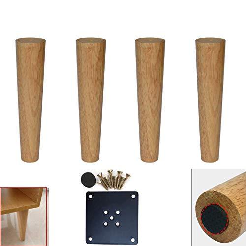 DX set van 4 houten meubelpoten van eikenhout met transparante coating, kegelvormig, reservepoten voor bank, keuken, bijzettafel, stoel, incl.