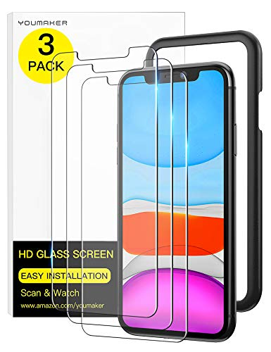 YOUMAKER 3 Pack HD Tempered Glass Screen Protector for iPhone 11 & iPhone XR, Case Friendly with Easy Installation Alignment Frame Premium Tempered Glass Film for Apple iPhone XR/11 6.1 inch - 3 Packs