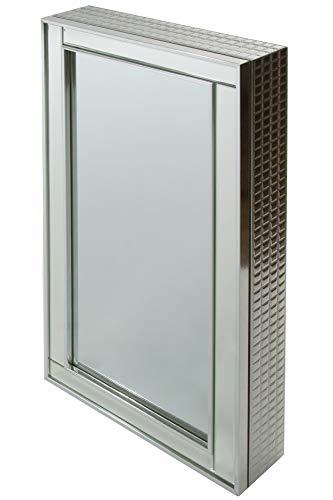 elbmöbel spiegelkast badkamer hal cosmetica sieraden opslag zilver 40cm breed H80 x B 40 x T9 cm
